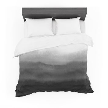 "Draper ""Ombre Ink Wash"" Gray Black Featherweight Duvet Cover"