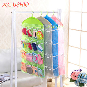16 Pockets Polyester Hanging Storage Bag Door Wall Mounted Hanging Storage Organizer Underwear Sock Cosmetic Storage Bag Pouch