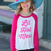 Girls Lil Hot Mess Sparkle Baseball Top {Pink}