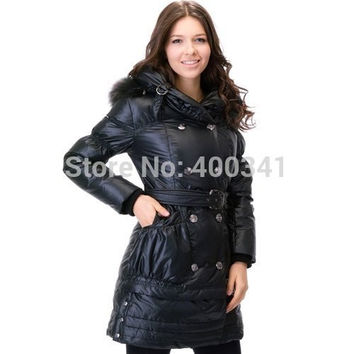 Free shipping BNW women's Real Hair ex-heavy long down jacket feather dress eiderdown outware clothes M-XL 20485302