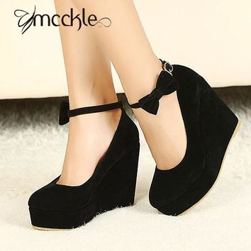 2016 HOT Sexy Women Fashion Buckle Ladies Shoes Wedges High Heels Platform black bow P