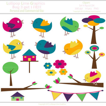 Digital Clipart Chick Trees Birdhouse Bunting Banner Clip Art Graphics Commercial Use INSTANT DOWNLOAD