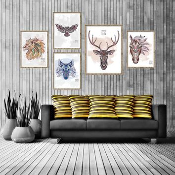 Abstract Animals Head Deer Horse Elephant Lion Eagle A4 Canvas Art Painting Wall Pictures For Living Room Home Decor No Frame
