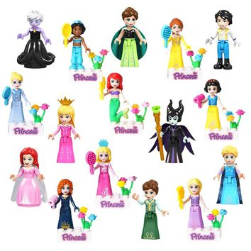 8Pcs/Set Fairy Tale Princess Girl Model Building Doll Figures Compatible With Legoinglys Friends For Girl Building Blocks Toys