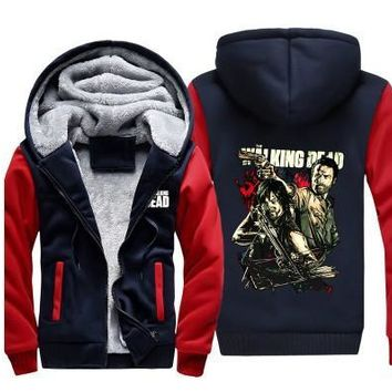 Dropshiping The Walking Dead Hoodies Zombie Daryl Dixon Wings Winter Thicking Fleece Mens Sweatshirts Warm Jacket