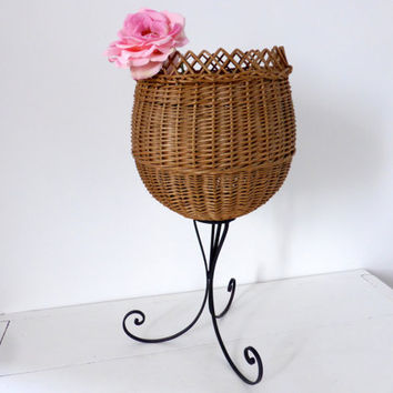 Vintage French Basket On Wrought iron Stand