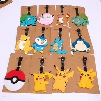 Pokeball cartoon PVC keychain Blastoise Charizard Pikachu Charmeleon luggage boarding pass travel baggage hanging listedKawaii Pokemon go  AT_89_9