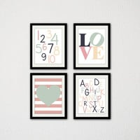 """Set of Four ABC and 123 Prints. Letters and Numbers. Love Typography. Nursery. Baby wall art. Heart. Mint Green and Pink/ 8.5x11"""" prints."""