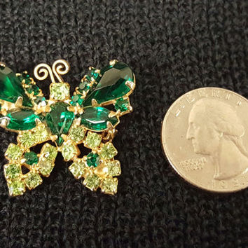 Vintage Emerald Green Rhinestone Butterfly Brooch or Pin