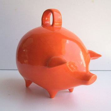 Mexican Piggy Bank Vintage Design in Orange Retro Mod Home
