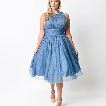 Iconic by UV Plus Size Blue Halter Roosevelt Swing Dress