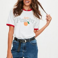 Missguided - White Feelin' Peachy T-Shirt