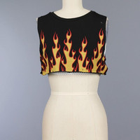 Flame Print Crop Tank w/ Fishnet Underlining (Black)