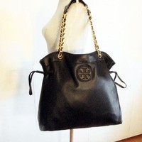 Tory Burch Marion Black Pebbled Leather Tote 37% off retail