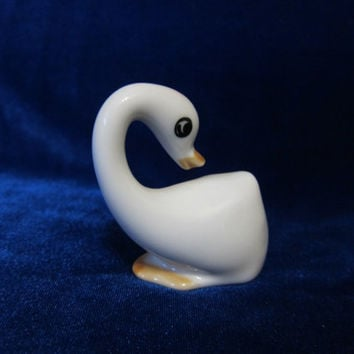 Vintage USSR Porcelain Figurine small swan soviet 1960s russian antique