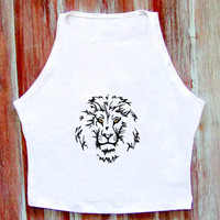 Lion Crop Top-White Yoga Top-Boho Lion Crop Top-Festival Crop Top-American Apparel