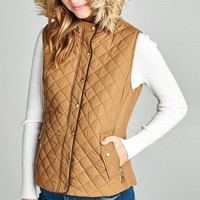 Quilted Fur Hooded Vest - Tan