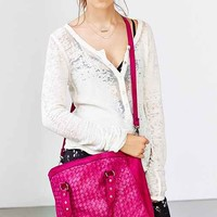 Ecote Crosshatch Woven Leather Tote Bag- Pink One