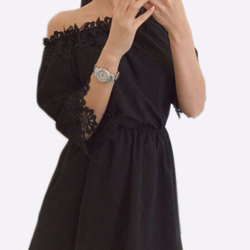 Black Off Shoulder Lace Detail 3/4 Sleeve Elastic Waist Mini Dress