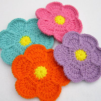 Spring Flower Trivet, Colorful Flower Pot Holder, Crochet Flower Table Decor or Wall Decor by Charlene Choose Your Color Made to Order
