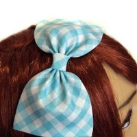 Light Aqua Blue Plaid Hair Bow (Alligator Clip)