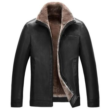 Winter Casual Coat Men Leather Thick Warm Lining Leather Jacket