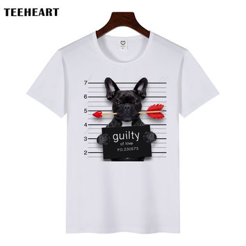 Summer Fashion Picho Dog Love Arrows Design T Shirt Men's High Quality  Tops Hipster Tees