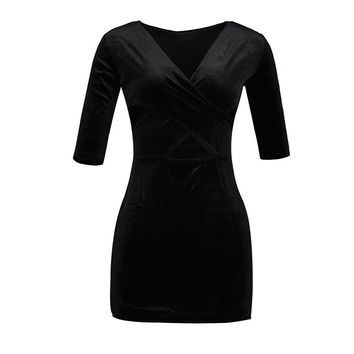 Goth Bodycon Dress Women Summer Black Dress V-Neck