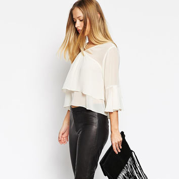 Ivory Chiffon V-neck Wide Sleeve Layered Cropped Top