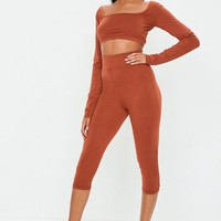 Missguided - Rust Cropped Leggings