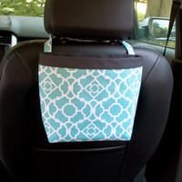 Headrest Car Caddy, Waverly Lovely Lattice Aqua, Car Litter Bag, Car Accessories, Toy Bag for Car, Quatrefoil Design