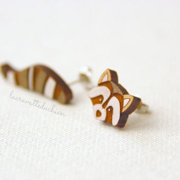 Wooden raccoon tail and head earrings studs - Animal wood jewelry - woodland earrings