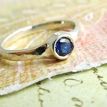 White Gold and Sapphire Engagement Ring, 14k Gold and AAA Natural 4mm Sapphire, Wedding Band, Goldsmith Jewelry