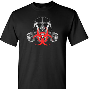 Biohazard Mask on a Black Short Sleeve T Shirt
