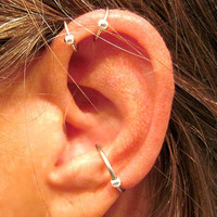 "2 Sterling Silver ""Captive Ball"" Helix Ear Cuffs & 1 Sterling Silver Captive Ball Conch Cuff No Piercing 3 Cuffs"