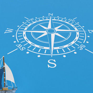 Nautical Compass Wall Decal- Compass Wall Art- Compass Rose Decal- Nautical Vinyl Decal- Nautical Bathroom Decor- Nautical Bedroom Decor 125