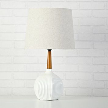 URBAN SHOP WHITE RABBIT RIBBED WOODEN LAMP - Walmart.com