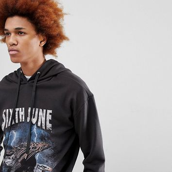 Sixth June Hoodie In Black With Eagle Print at asos.com