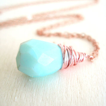 Peruvian Blue Opal Necklace Rose Gold Gift for her Under 60 October birthstone