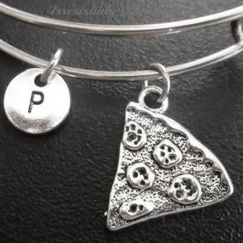 Sale.....Pizza, best friends, BFF charm bracelet, Stainless Steel Expandable Bangle, monogram personalized item No.677