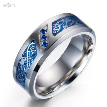 eejart Titanium Wedding Ring Band with Dragon Design Over Blue Carbon Fiber Inlay and Blue Cubic Zirconia
