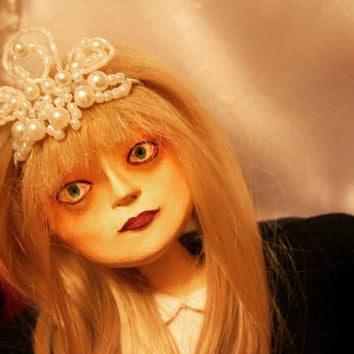 Free Shipping***Creepy Gothic Horror Halloween Decor Twin Peaks Scary Spooky Haunted Doll Coffin Strange OOAK Handmade Art Doll Laura Palmer