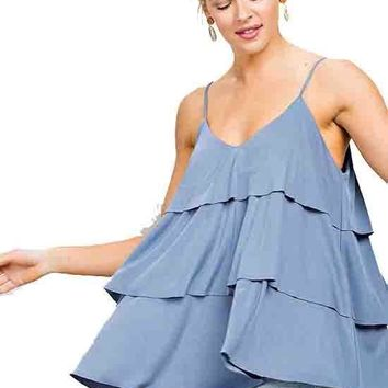 Dusty Blue Tiered Spaghetti Strap Knit Cami Top