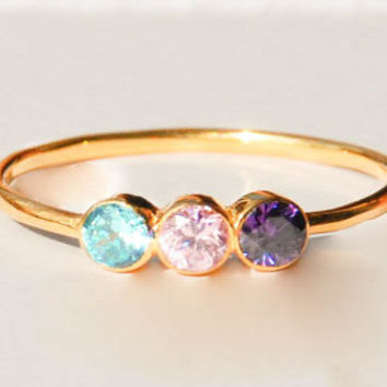 Three Birthstone Ring - Three Stone Ring - Gemstone Ring - Dual Birthstone Ring - Gemstone Jewelry - Gold Ring