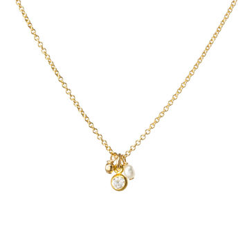 Flower Girl Crystal Bezel And Bead Cluster Necklace, Gold Dipped | Dogeared