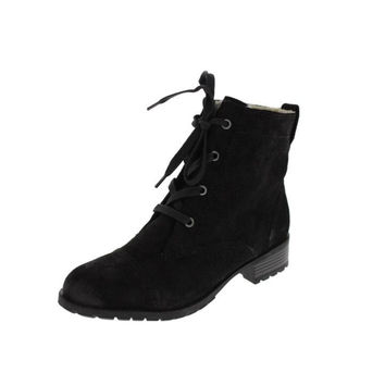 Naturalizer Womens Cynergy Suede Faux Fur Lined Combat Boots