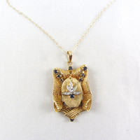 Vintage 14K Gold Locket Pendant Necklace Diamond and Sapphire Mid Century Retro Charm Locket Estate Fine Jewelry