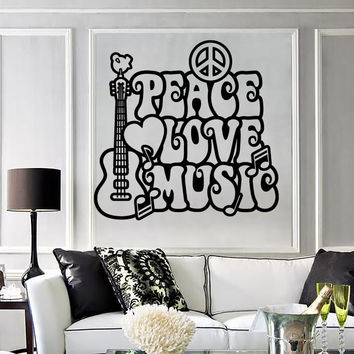Wall Stickers Vinyl Decal Sign of Hippie Peace Love Music (ig1331)