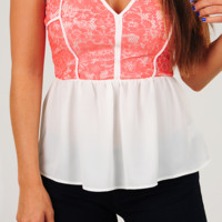 We'll Be Found Top: White/Coral