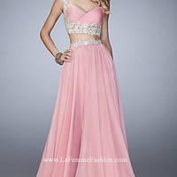 Long Chiffon Sweetheart Two Piece Prom Dress by La Femme